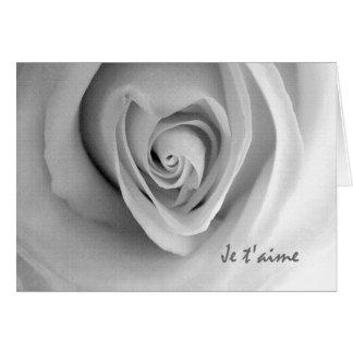 Jeのt'aime、私はフランスのの、ハートのばら色カード愛します グリーティングカード