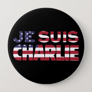 Je Suisチャーリー-私はチャーリーの星及び米国を縞で飾ります 10.2cm 丸型バッジ