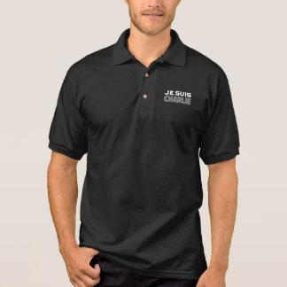 Je Suisチャーリー-私はチャーリーの黒です ポロシャツ