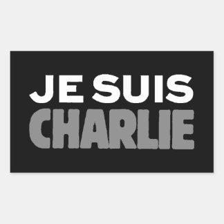 Je Suisチャーリー-私はチャーリーの黒です 長方形シール