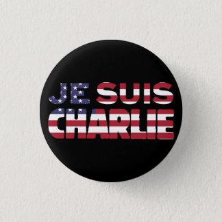 Je Suisチャーリー-私はチャーリー星、米国を縞で飾ります 3.2cm 丸型バッジ
