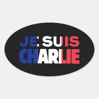 Je Suisチャーリー-私はフランスの三色チャーリーです 楕円形シール