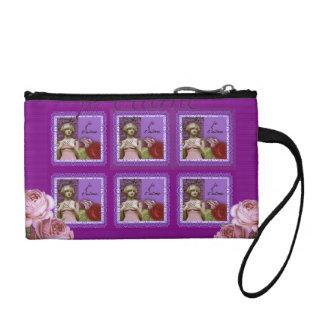 Je T'aimeの紫色のロマンチックな女の子のヴィンテージのコラージュ コインパース
