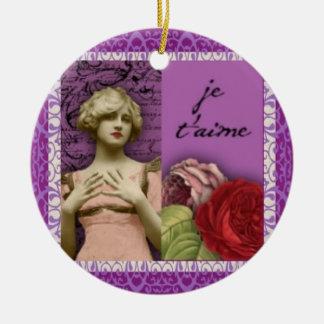 Je T'aimeの紫色のロマンチックな女の子のヴィンテージのコラージュ セラミックオーナメント