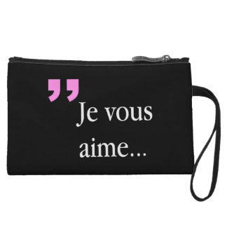 JE VOUS AIMEのフランス人2sided黒いWの小型クラッチ クラッチ