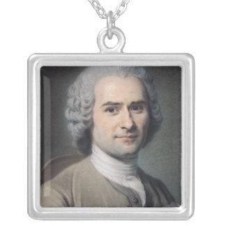 Jean-Jacques Rousseauのポートレート シルバープレートネックレス