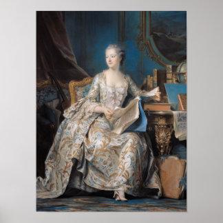 Jeanneポアソン伯爵夫人de Pompadour 1755年 ポスター