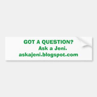 Jeniを頼んで下さい バンパーステッカー