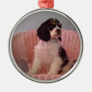 Jennaの三コッカースパニエルの子犬 メタルオーナメント