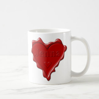 Jenna。 一流のJennaの赤いハートのワックスのシール コーヒーマグカップ