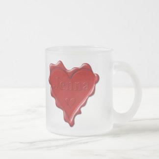 Jenna。 一流のJennaの赤いハートのワックスのシール フロストグラスマグカップ