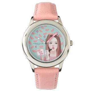 Jennieに革バンドの腕時計を構成して下さい 腕時計