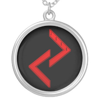 JeraのRuneの赤 シルバープレートネックレス