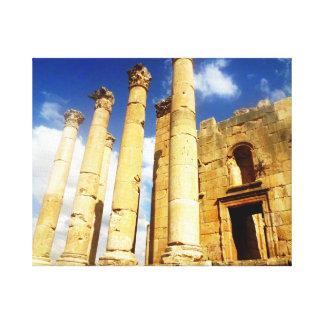 Jerashのローマの柱 キャンバスプリント