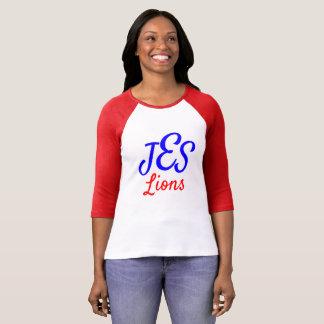 JESのライオンの女性のモノグラムの赤い野球のティー Tシャツ