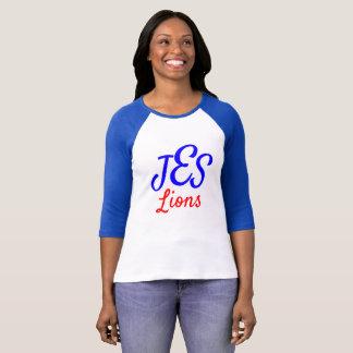 JESのライオンの女性のモノグラムの青い野球のティー Tシャツ