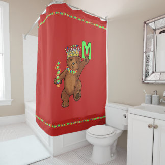 Jewel Crowned Royal Teddy Bear Custom シャワーカーテン