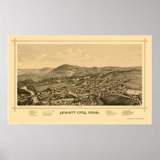 Jewett都市、CTのパノラマ式の地図- 1889年 ポスター