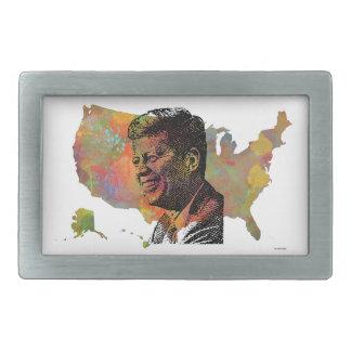 JFKを特色にする米国の地図 長方形ベルトバックル