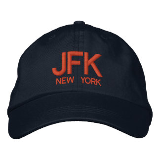 JFK空港名前入りで調節可能な帽子 刺繍入りキャップ