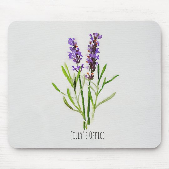 Jillyの植物のラベンダーの水彩画 マウスパッド