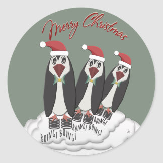 JiminyのクリスマスのPogoの跳躍のペンギン ラウンドシール