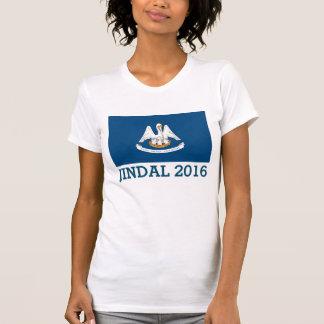 Jindalかわいい2016年のルイジアナの旗 Tシャツ