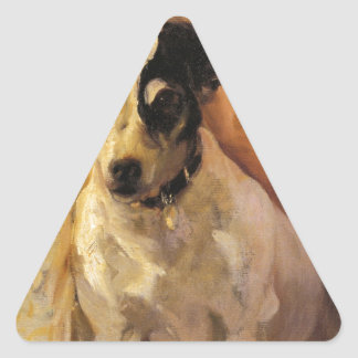 Joaquín Sorolla著ジャックラッセルのポートレート 三角形シール
