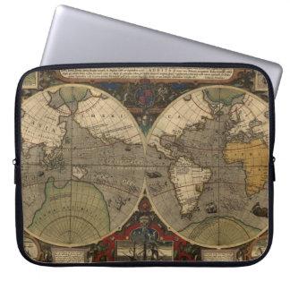 Jodocus Hondius著1595年のヴィンテージの世界地図 ラップトップスリーブ