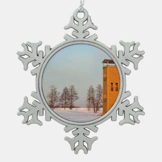 Jõesuuの望楼湖Võrtsjärvエストニア スノーフレークピューターオーナメント