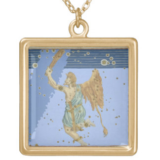 Joha著「Uranometria」からのオリオンの星座、 ゴールドプレートネックレス