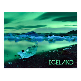 Jokulsarlon湖、アイスランド上のNorthern Lights ポストカード