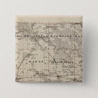 Jones郡、アイオワ州の地図 5.1cm 正方形バッジ