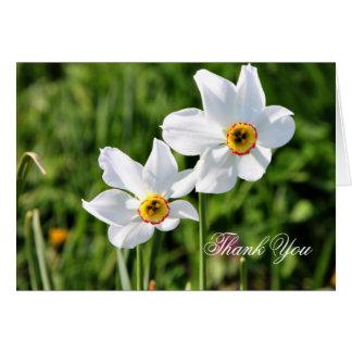 Jonquilの素晴らしく白い花は感謝していしています カード