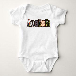 Josiahの男の赤ちゃんのオレンジ、水、デニムの名前- ベビーボディスーツ