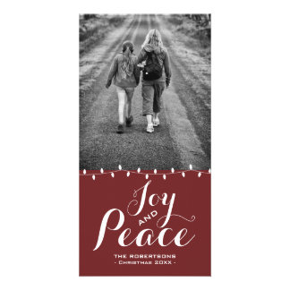 Joy & Peace Dark Red Version Christmas Photo Card カード