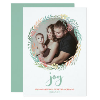 Joy - Rustic Minty Watercolor Wreath Holiday Photo カード