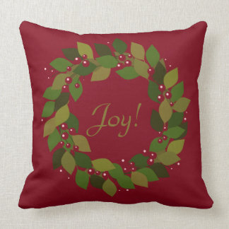 Joy! | Rustic Red Christmas Wreath クッション