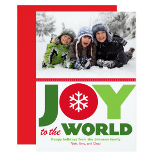 Joy to the World Red & Green Holiday Photo カード