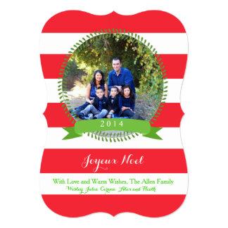 joyeuxのnoelのクリスマスの写真カードはっきりしたな赤のストライプ カード