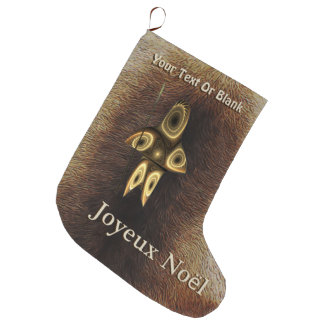 Joyeux Noёl - Tuvaaqのフラクタルのイヌイット族のハンター ラージクリスマスストッキング