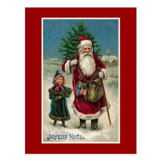 """Joyeux Noel""のヴィンテージのフランス人のクリスマス ポストカード"