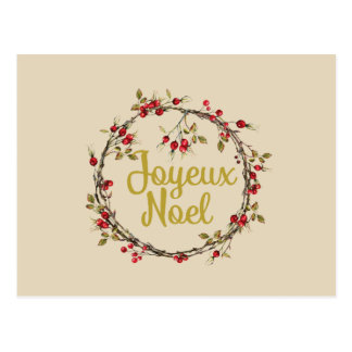 Joyeux Noel French Rustic Christmas Wreath ポストカード