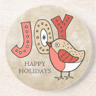 Joyful Bird Rustic Christmas コースター