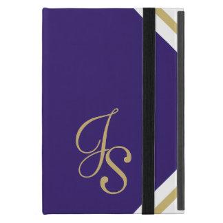 JSのモノグラムのなインディゴおよび金ゴールドのiPad Miniケース iPad Mini ケース