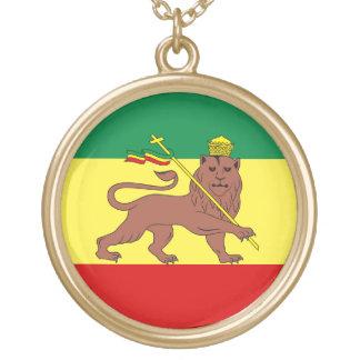Judahのラスタのレゲエのライオン ゴールドプレートネックレス