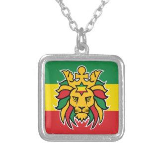 JudahのRastafariのライオン シルバープレートネックレス