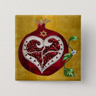 JudaicaのザクロのハートハヌカーRosh Hashanah 5.1cm 正方形バッジ