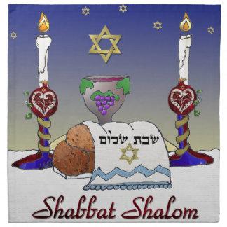 Judaica Shabbat Shalomの芸術のプリント ナプキンクロス