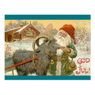 Jultomten Feeds Yule Goat a Cookie ポストカード